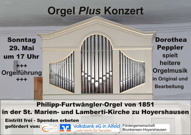 <b>Orgel</b> <i>Plus</i>, die Konzertreihe in Hoyershausen am 29. Mai 2016